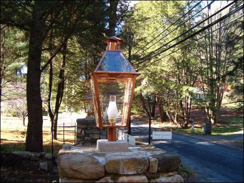 Copper Lanterns For Stone Entrance White Chimney Lamps